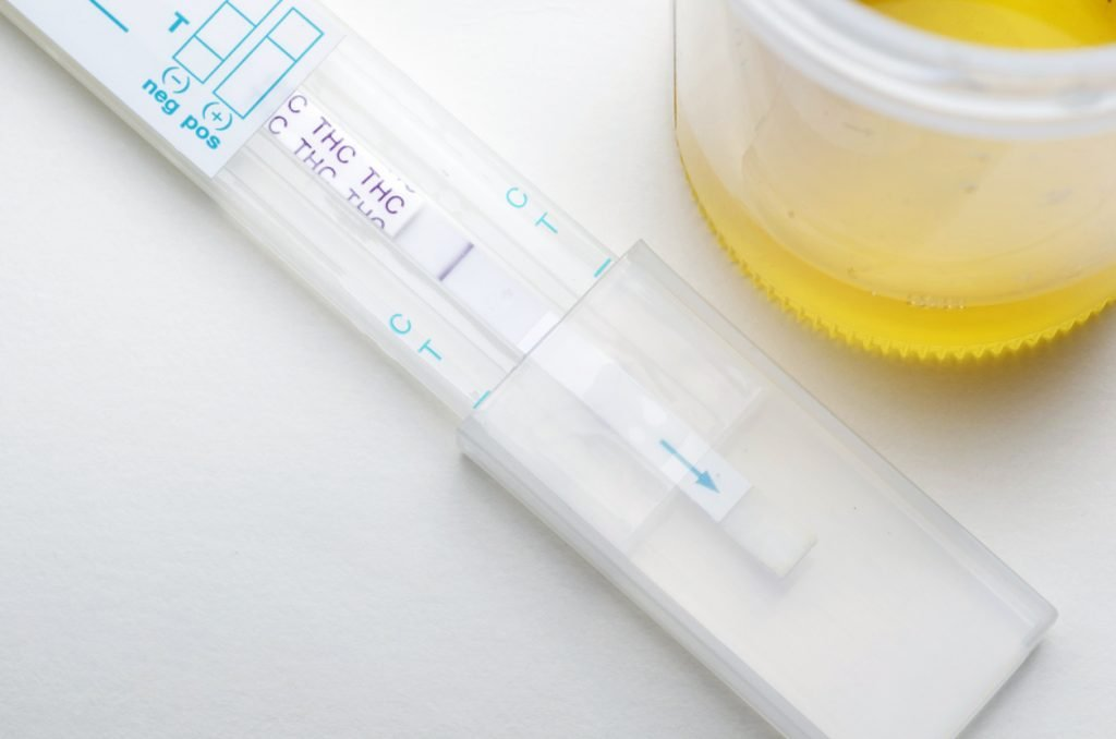 "Drug test for THC that is ""positive"", showing that the person being tested was using Marijuana."