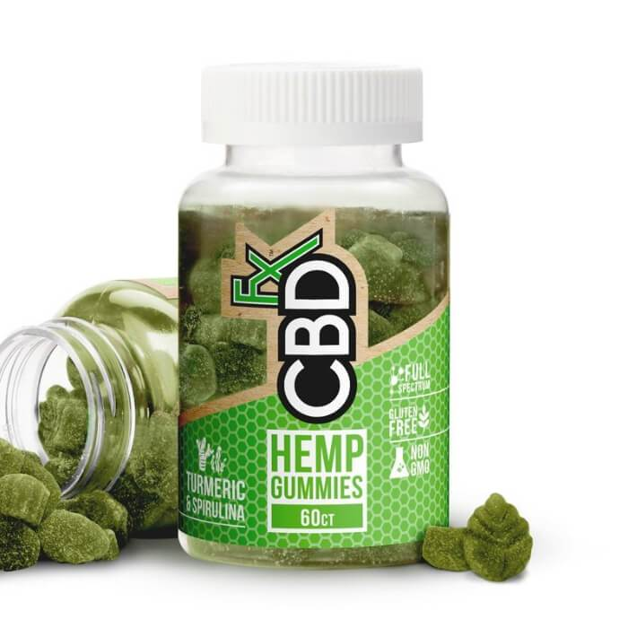 cbdfx gummies with turmeric bottle