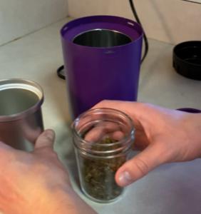 Transfer decarbed CBD bud to 8oz glass jar