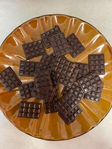 Homemade Delta 8 Infused chocolates on a plate complete