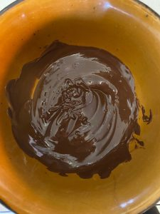 Semi sweet chocolate melted in a bowl